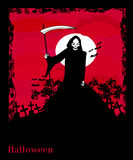 Grim reaper with Halloween sign Stock Photo