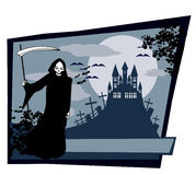 Grim reaper with Halloween sign Stock Image