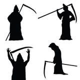 Grim reaper holding scythe black vector silhouette. On white Stock Images