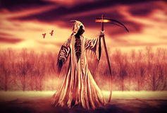 Grim Reaper. Illustration of a Grim Reaper or fantasy evil spirit with a forest background. Digital painting vector illustration