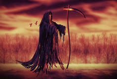 Grim Reaper. Illustration of a Grim Reaper or fantasy evil spirit with a forest background. Digital painting Stock Images