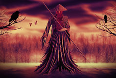 Grim Reaper. Illustration of a Grim Reaper or fantasy evil spirit with a forest background. Digital painting Stock Photos