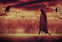 Grim Reaper. Illustration of a Grim Reaper or fantasy evil spirit with a forest background. Digital painting Royalty Free Stock Photo