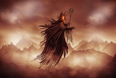 Grim Reaper. Illustration of a Grim Reaper or fantasy evil spirit with a mountain background. Digital painting Stock Images