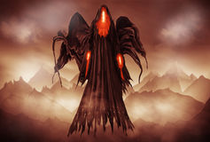 Grim Reaper. Illustration of a Grim Reaper or fantasy evil spirit with a mountain background. Digital painting Stock Image