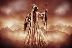 Grim Reaper. Illustration of a Grim Reaper or fantasy evil spirit with a mountain background. Digital painting royalty free illustration
