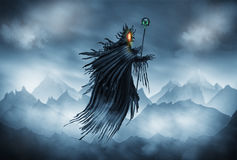 Grim Reaper. Illustration of a Grim Reaper or fantasy evil spirit with a mountain background. Digital painting stock illustration