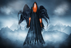 Grim Reaper. Illustration of a Grim Reaper or fantasy evil spirit with a mountain background. Digital painting Royalty Free Stock Photo