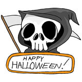 Grim Reaper. An image of a grim reaper with Happy Halloween text Stock Photos