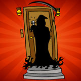 Grim Reaper Knocking. An image of the grim reaper representing knocking on death's door Stock Photography