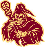 Grim Reaper Lacrosse Defense Pole Retro. Illustration of the grim reaper lacrosse player holding a crosse or lacrosse stick defense pole viewed from front on vector illustration