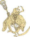 Grim Reaper Lacrosse Stick Drawing. Drawing sketch style illustration of the grim reaper lacrosse player holding a crosse or lacrosse stick defense pole viewed Royalty Free Stock Image