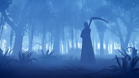 Grim reaper in a misty night forest. Scary night forest with silhouette of a grim reaper on foreground Stock Photography