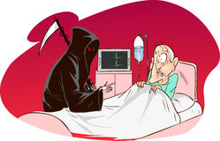 Grim Reaper and patient. A vector illustration of Grim Reaper and patient Royalty Free Stock Image