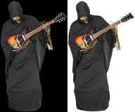 Grim Reaper Play Guitar Isolated Stock Photos
