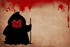 Grim reaper with predatory red  eyes silhouette holding crook. Grim reaper with predatory red  eyes silhouette holding crook isolated on white  background Royalty Free Stock Image