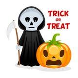 Grim Reaper & Pumpkin Happy Halloween Royalty Free Stock Photo