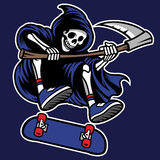 Grim reaper riding skateboard Royalty Free Stock Photography