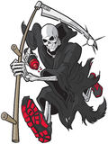 Grim Reaper Running with Athletic Shoes and Water Bottle Stock Photography