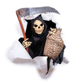 Grim Reaper with a scythe and carboys Stock Photos