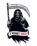 Grim reaper with scythe, death pointing finger. I want you dead!. Grim reaper with scythe in dark hooded cloak, death pointing finger. I want you dead! black and Royalty Free Stock Photography