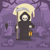 Grim reaper with a scythe and a lantern on an old cemetery Royalty Free Stock Photo