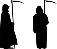 Grim Reaper Silhouette. Grim reaper with scythe silhouette on frontal and side view Royalty Free Stock Photography