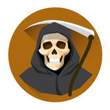 Grim Reaper Skeleton Hold Scythe Halloween Holiday Icon Royalty Free Stock Photography