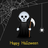 Grim Reaper & Spider Web Halloween Card Royalty Free Stock Photos