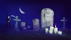 Grim reaper on spooky night cemetery. Abandoned spooky cemetery under fantastic big half moon with lighted candles in front of old tombs and grim reaper Stock Images
