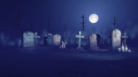 Grim reaper on spooky night graveyard. Abandoned sinister graveyard under fantastic big moon with lighted candles in front of old gravestones and grim reaper in Stock Photography