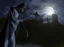 The Grim Reaper Stalks a Cemetery. The Grim Reaper takes a moonlit stroll through a small, abandoned cemetery - 3D render Royalty Free Stock Photos
