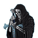Grim reaper with sword .grim reaper tattoo. Vector illustration Royalty Free Stock Photos