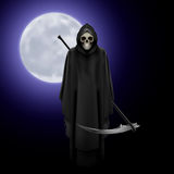 Grim Reaper. Terrifying Grim Reaper over full moon background Royalty Free Stock Photography