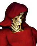 Grim Reaper Thinking. The grim reaper, dressed in a blood red hooded rope. Places his skeleton hand on his bony jaw in thinking or contemplation pose. Closeup Stock Photo