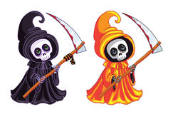 Grim Reaper. Two characters of different colors. Royalty Free Stock Photography