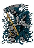 Grim reaper. Vector illustration of grim reaper with scythe and skulls Royalty Free Stock Images