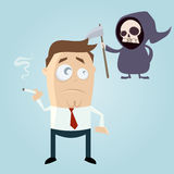 Grim reaper is waiting for smoker. Funny cartoon illustration of grim reaper is waiting for smoker Royalty Free Stock Images