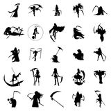 Grim reaper woman silhouettes set Stock Images