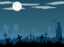 Grim Reaper and Zombie Silhouette in Full Moon Graveyard. Flat design vector of grim reaper with scythe and zombies in moonlit graveyard vector illustration