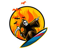 Grim Surfing on Flame. Grim reaper on surfboard in front of flame Royalty Free Stock Photos