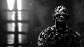 Grim zombie apocalyptic face illustration. Grim zombie apocalyptic face. Genre of horror. Black and white image vector illustration