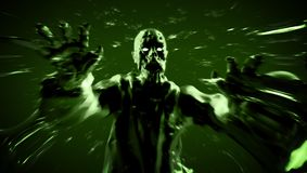 Grim zombie attack zombie monster run. 3D illustration. Royalty Free Stock Photography
