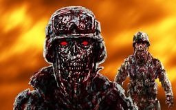 Grim zombie soldiers against the raging fire. stock illustration