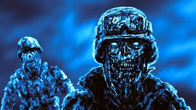 Grim zombie soldiers against the raging fire. royalty free illustration