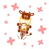 Cow making Milkshake. Grimace Cow using drill machine to make a delicious milkshake with pink strawberry sprinkle background Stock Photography