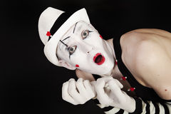 Grimace mime in white hat Royalty Free Stock Photos