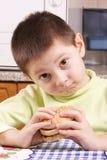 Grimacing boy with hamburger Stock Image