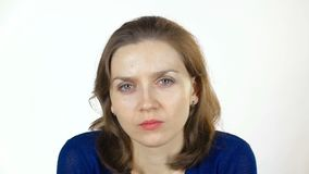 Grimacing caucasian woman stock video