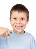 Grimacing chłopiec portret na bielu Zdjęcie Stock